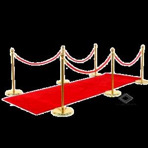 Location de potelets or à corde rouge et tapis rouge