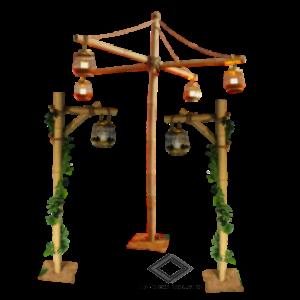 Location de support en bambou avec lanternes