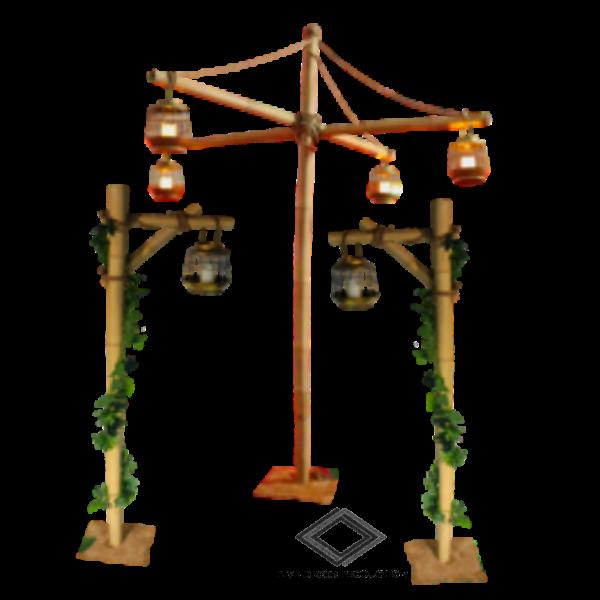 Location de support en bambou avec lanterne
