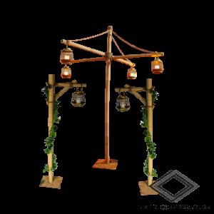 Location de support en bambous avec lanternes