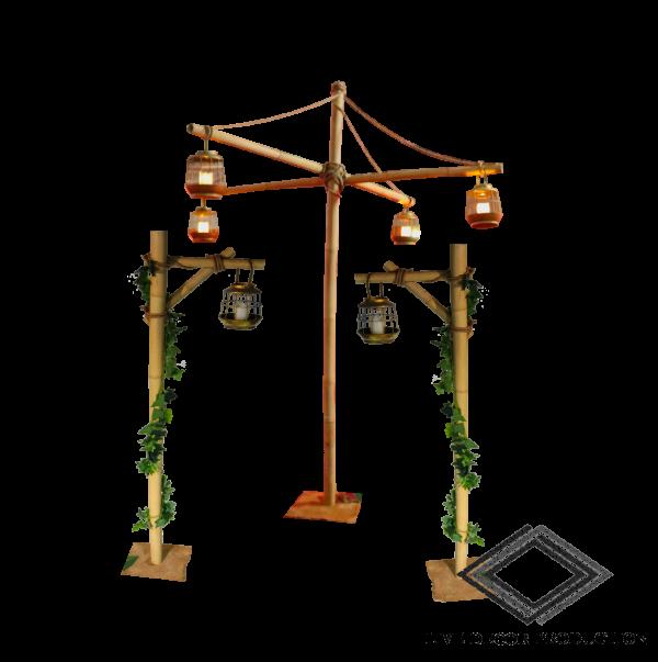 support en bambous avec lanternes